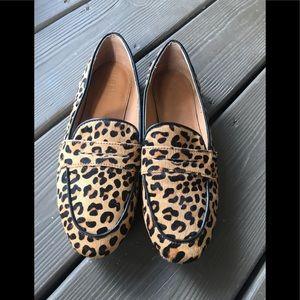 Women's mohair leopard loafers